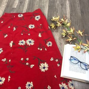 Vintage Tomato Red Daisy Floral Midi Skirt